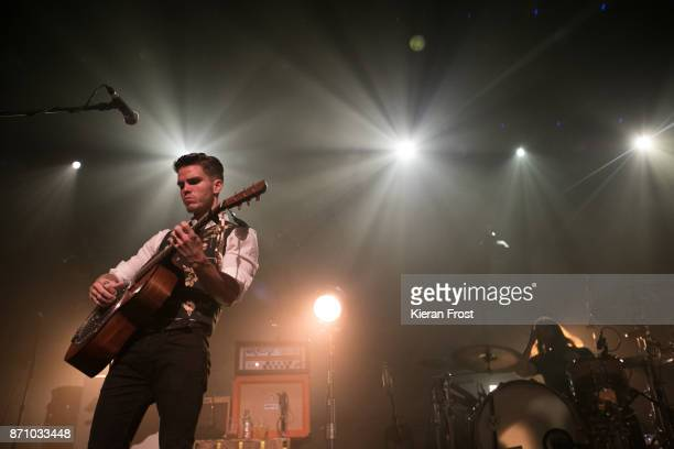 Julius Son and David Antonsson of Kaleo performs live at the Olympia Theatre on November 6, 2017 in Dublin, Ireland.