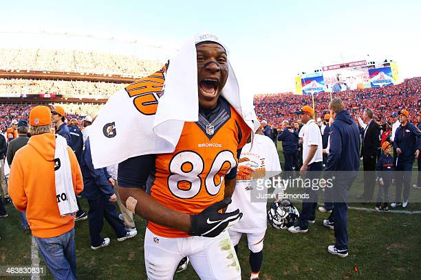 Julius Thomas of the Denver Broncos celebrates their 26 to 16 win over the New England Patriots during the AFC Championship game at Sports Authority...