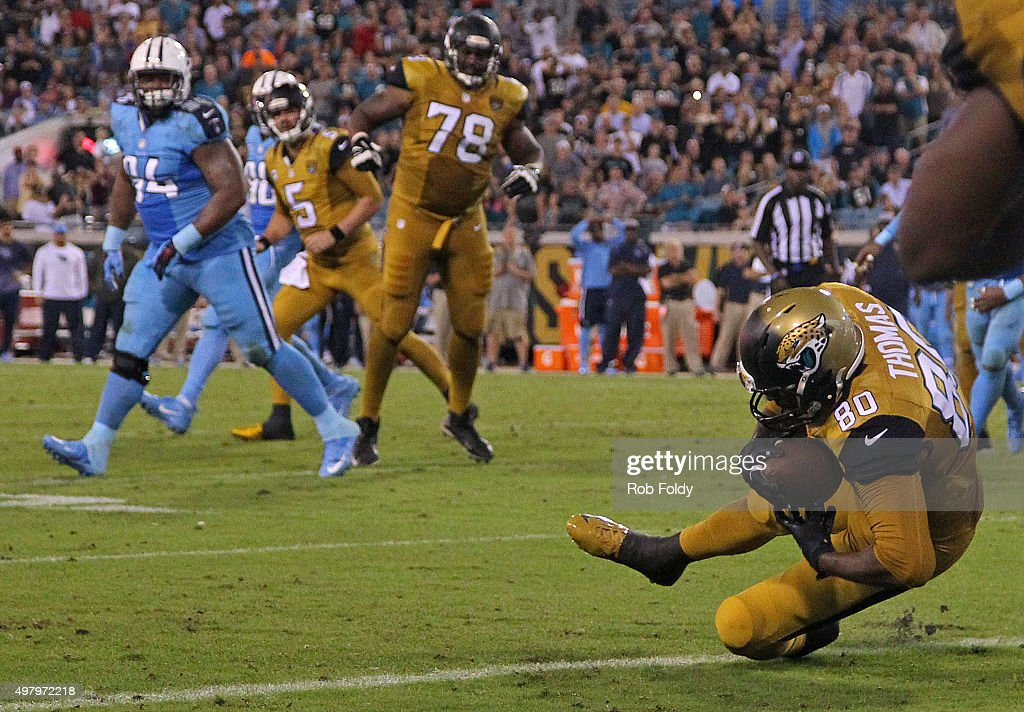 Julius Thomas #80 of the Jacksonville Jaguars catches a pass in the end zone for a touchdown during the second half of the game against the Tennessee Titans at EverBank Field on November 19, 2015 in Jacksonville, Florida.