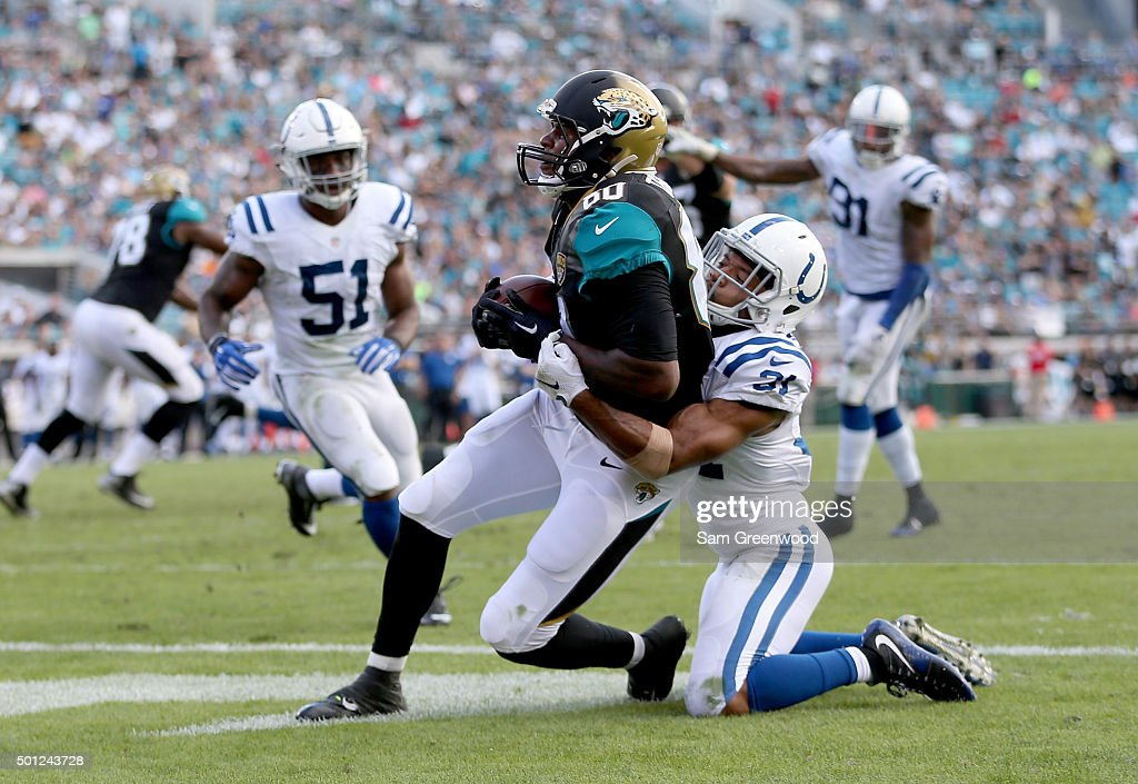 Julius Thomas #80 of the Jacksonville Jaguars crosses the goal line for a touchdown during the game against the Indianapolis Colts at EverBank Field on December 13, 2015 in Jacksonville, Florida.