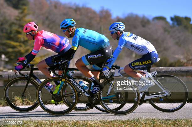 Julius Van Den Berg of The Netherlands and Team EF Education First / Daniil Fominykh of Kazahkstan and Astana Pro Team / Fabien Schmidt of France and...