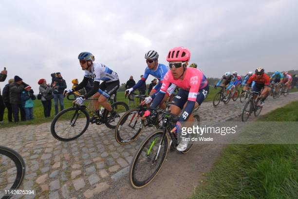 Julius Van Den Berg of The Netherlands and Team EF Education First / Matteo Trentin of Italy and Team MitcheltonScott / Cobblestones / Gravel Strokes...