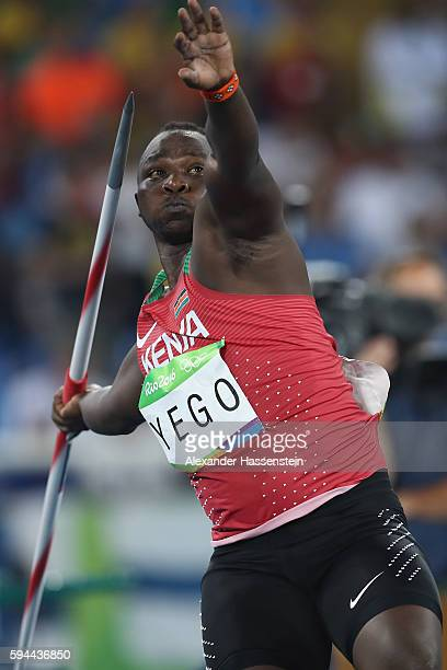 Julius Yego of Kenya competes in the Men's Javelin qualification on Day 12 of the Rio 2016 Olympic Games at the Olympic Stadium on August 17 2016 in...