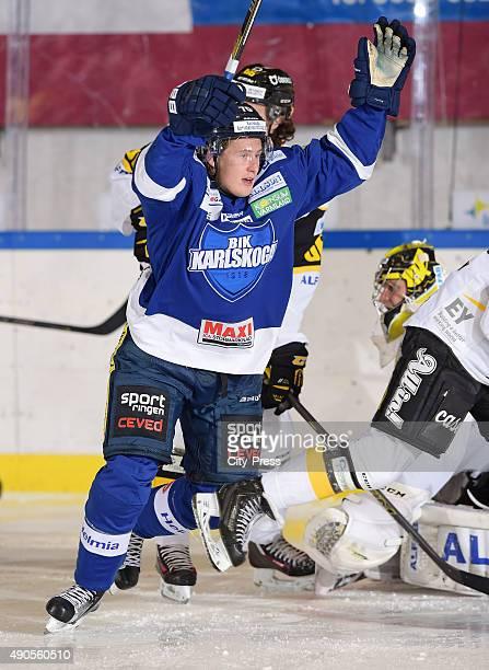 Juliuz Persson of BIK Karlskoga celebrates a goal during the game between BIK Karlskoga and VIK Vaesteras HK on September 29 2015 in Karlskoga Sweden
