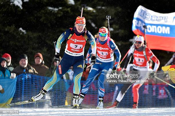 Juliya Dzhyma of Ukraine takes 3rd place during the IBU Biathlon World Cup Men's and Women's Relay on January 25 2015 in AntholzAnterselva Italy