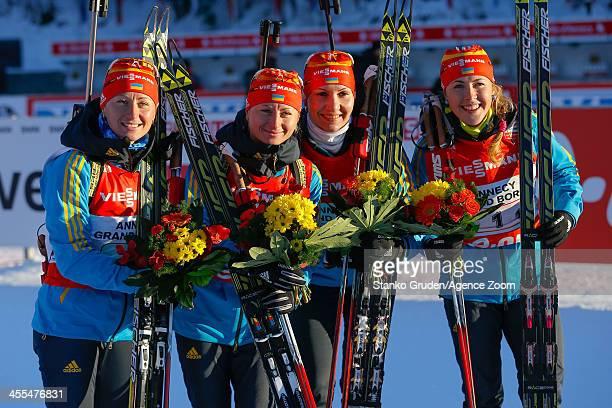 Juliya Dzhyma Vita Semerenko Valj Semerenko Olena Pidhrushna of Ukraine takes 2nd place during the IBU Biathlon World Cup Women's Relay on December...