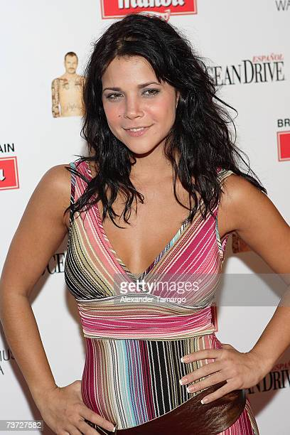 """Jullye Giliberti poses on the red carpet during arrivals for Miguel Bose's """"Papito"""" CD release party at Mokai on March 27, 2007 in Miami Beach,..."""
