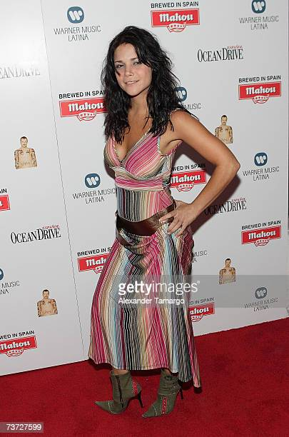 Jullye Giliberti poses on the red carpet during arrivals for Miguel Bose's Papito CD release party at Mokai on March 27 2007 in Miami Beach Florida
