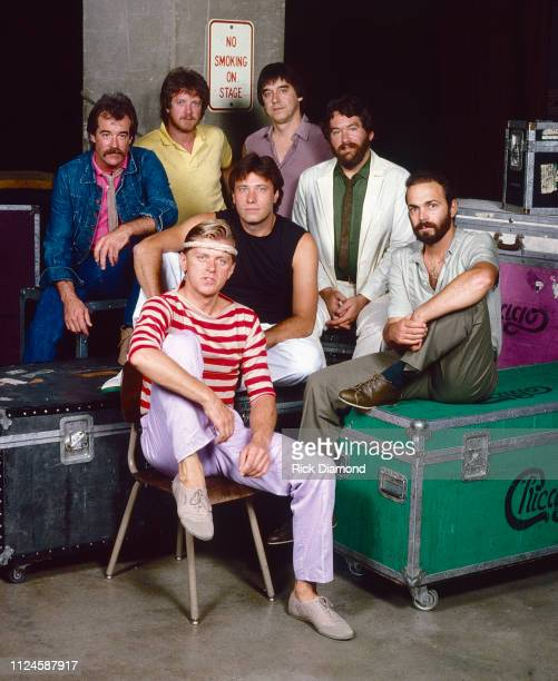 Chicago preconcert backstage photo shoot Back row James Pankow Walt Parazaider Lee Loughnane Bill Champlin Robert Lamm Danny Seraphine and Peter...
