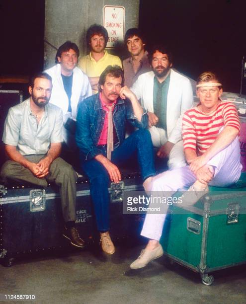 Chicago preconcert backstage photo shoot L/R Danny Seraphine Robert Lamm Lee Loughnane James Pankow Walt Parazaider Bill Champlin and Peter Cetera in...