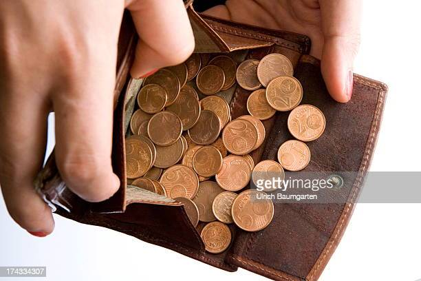 1 2 and 5 Euro cent coins in a wallet on July 02 2013 in Bonn Germany