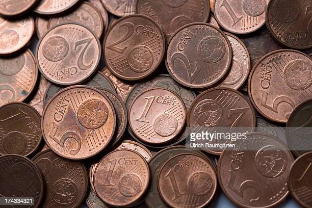 1 2 and 5 Euro cent coins on July 02 2013 in Bonn Germany
