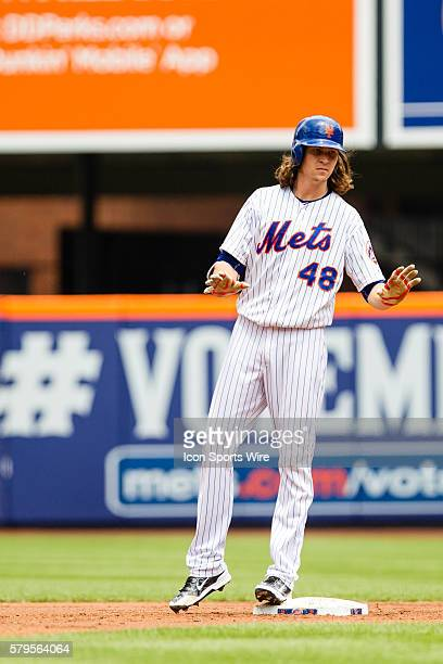 New York Mets Starting pitcher Jacob deGrom [10741] stands on second base after hitting a double to left center field during a MLB National League...