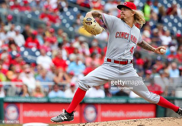 Cincinnati Reds starting pitcher John Lamb during a MLB game at Nationals Park in Washington DC