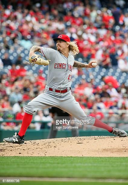 Cincinnati Reds starting pitcher John Lamb during a MLB game at Nationals Park in Washington DC