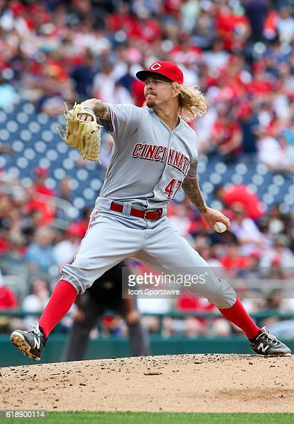 Cincinnati Reds starting pitcher John Lamb during a MLB game at Nationals Park in Washington DC The Nationals defeated the Reds 121