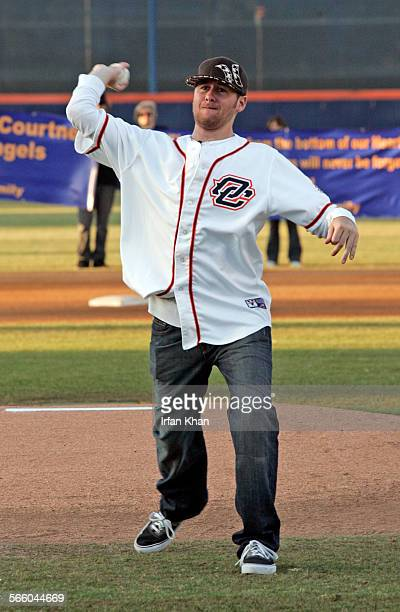 CA – July 06 2009 ––– Jon Wilhite throws out a ceremonial first pitch before the start of baseball game between Orange County Flyers and Calgary...