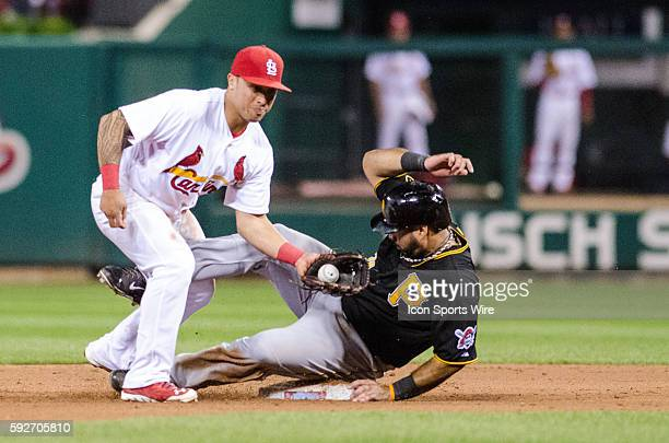 St Louis Cardinals Second baseman Kolten Wong [9147] cannot make the tag in time to get Pittsburgh Pirates Third baseman Pedro Alvarez [6864] out for...