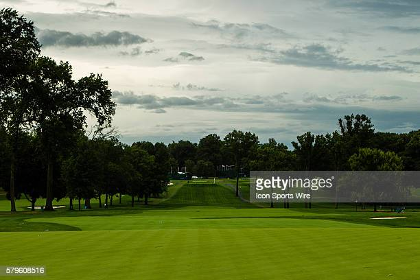 After a storm that produced heavy rains and violent winds the golf coarse stands empty of all players and fans during the first round of the 2015 US...