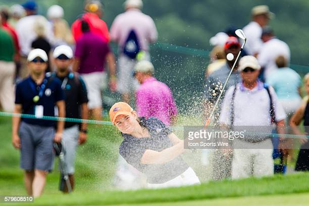 Nikki Long hits out of a green side bunker during the first round of the 2015 US Women's Open at Lancaster Country Club in Lancaster PA