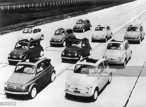 July 1 1957 presentation of FIAT 500 cars during a trial race which sought to promote this model of the tiny automobile It consists of two 470...