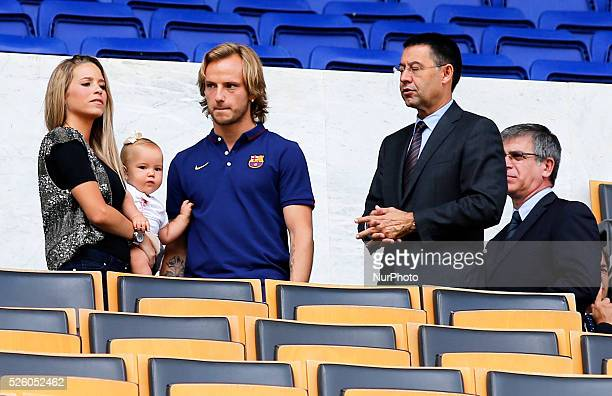 July 1 the player wife and Josep Maria Bartomeu in the the presentation of the new FC Barcelona player Ivan Rakitic on July 2 2014 Photo Joan Valls /...