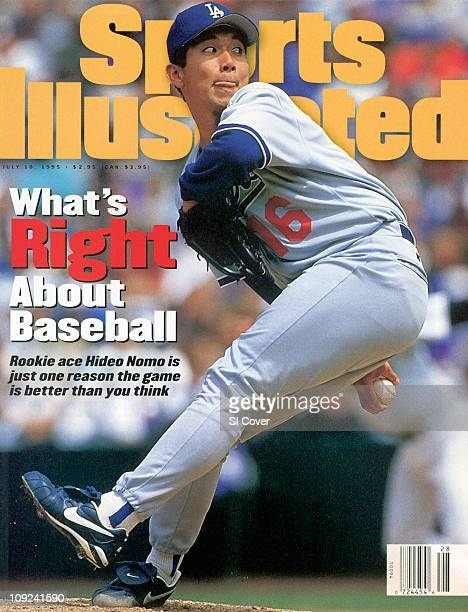 July 10, 1995 Sports Illustrated via Getty Images Cover:Baseball: Los Angeles Dodgers Hideo Nomo in action, pitching vs Colorado Rockies at Coors...