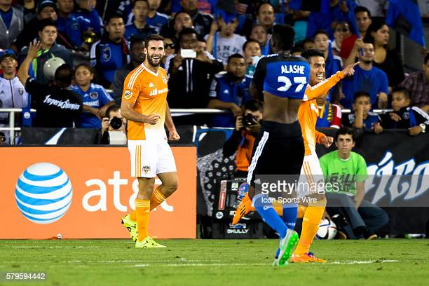 Houston Dynamo forward Will Bruin celebrate scoring in the 81st minute during a Major League Soccer match between the San Jose Earthquakes and the...