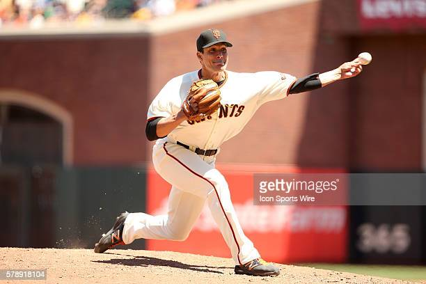 July 10 2014 San Francisco CA Javier Lpez of the Giants during a Major League Baseball game against the Oakland Athletics at AT T Park in San...