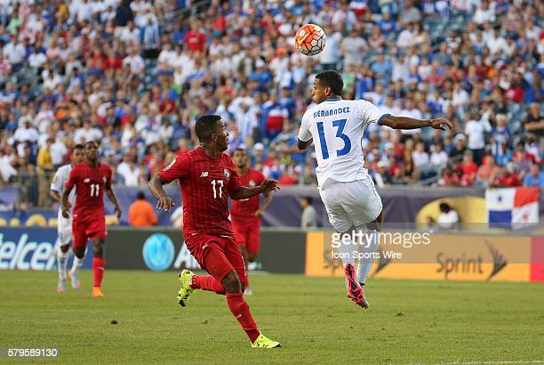 Honduras forward Eddie Hernandez heads the ball away from Panama defender Luis Henriquez The Men's National Team of Honduras and the Men's National...