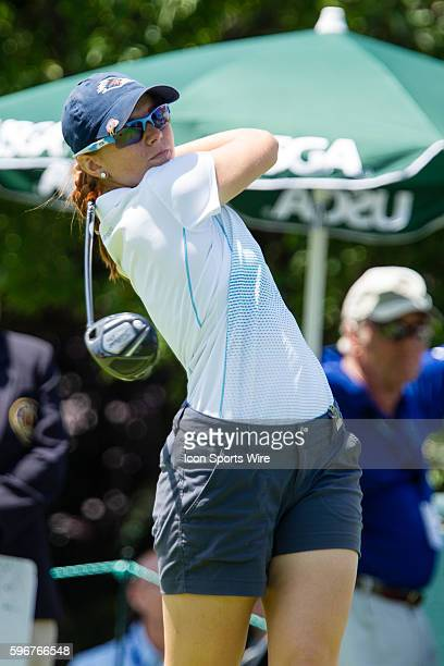 Nikki Long watches her tee shot after hitting from the 1st tee during the second round of the 2015 US Women's Open at Lancaster Country Club in...