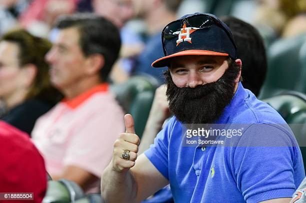 A Dallas Keuchel fan wears a fake beard during the Athletics at Astros baseball game at Minute Maid Park Houston Texas