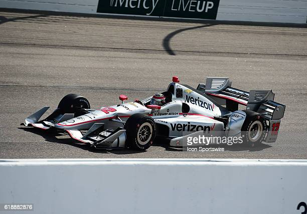 Driver Will Power going into turn one during the Verizon Indycar Series Iowa Corn 300 at Iowa Speedway Newton IA