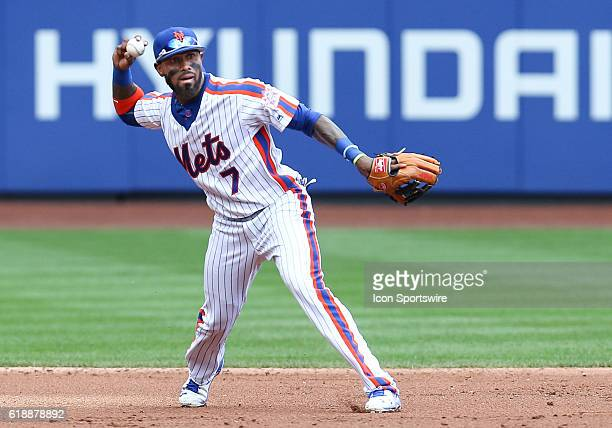 New York Mets Infielder Jose Reyes [3276] throws out Washington Nationals Second baseman Daniel Murphy [7008] on a ground ball during the third...