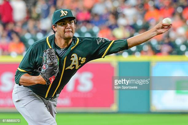 Oakland Athletics Starting pitcher Sean Manaea delivers a pitch during the Athletics at Astros baseball game at Minute Maid Park Houston Texas