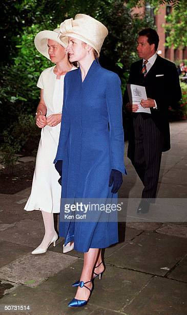 English royals David & wife Serena Linley w. Sarah Chatto at National Service of Thanksgiving for the 100th Birthday of Queen Elizabeth.