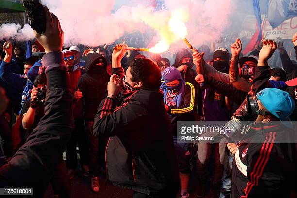 CONTENT] July 11 2013 Protest March and Demonstration Santiago Chile Julio 11 Protesters bearing the flag of Club Universidad de Chile a football...