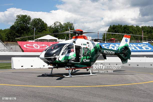 Dartmouth-Hitchcock Advanced Response Team helicopter during practice for the Nationwide Series Sta-Green 200 at New Hampshire Motor Speedway in...