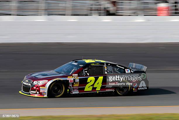NASCAR Sprint Cup Series Jeff Gordon driver of the Drive to End Hunger Chevrolet during qualifying for the Camping World RV Sales 301 at New...