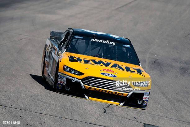 NASCAR Sprint Cup Series Marcos Ambrose driver of the DeWalt Ford during practice for the Camping World RV Sales 301 at New Hampshire Motor Speedway...