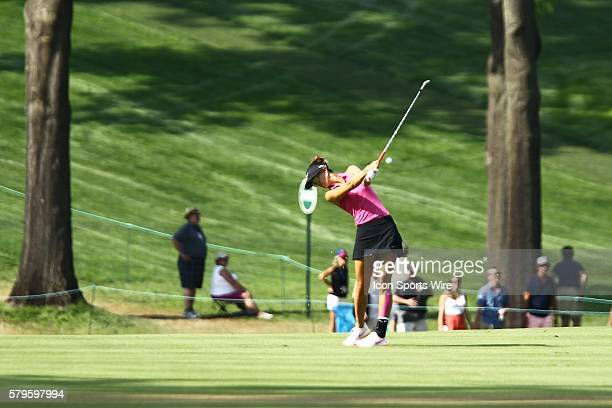 Michelle Wie hits her approach shot from the 18th fairway during the third round of the US Women's Open at Lancaster Country Club in Lancaster PA