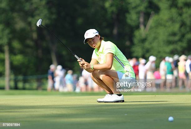 Min Lee sinks to the green after nearly sinking a birdie putt during the third round of the US Women's Open at Lancaster Country Club in Lancaster PA