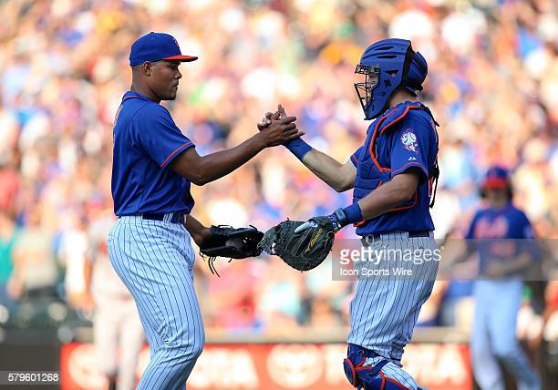 New York Mets Pitcher Jeurys Familia [7925] shakes hands with his battery mate New York Mets Catcher Kevin Plawecki [9785] ofter notching his 26th...