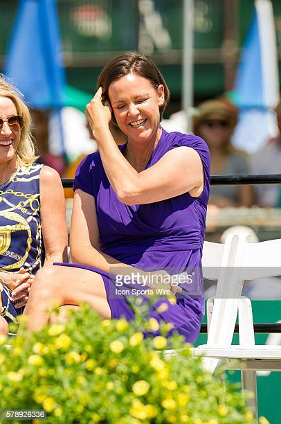 Former world No.1, 6-time Grand Slam tournament champion in singles and doubles Lindsay Davenport laughs during her introduction during the Hall of...