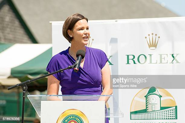 Former world No.1, 6-time Grand Slam tournament champion in singles and doubles Lindsay Davenport delvers her acceptance speech during the Hall of...