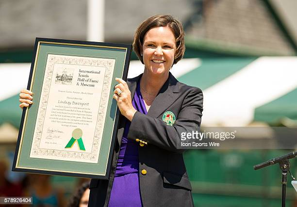 Former world No.1, 6-time Grand Slam tournament champion in singles and doubles Lindsay Davenport is given her plaque during the Hall of Fame Tennis...