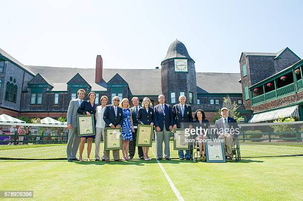 The 2014 induction class from left to righ Nick Bollettieri Jane Brown Grimes Lindsay Davenport John Barrett and Chantal Vandierendonck and their...