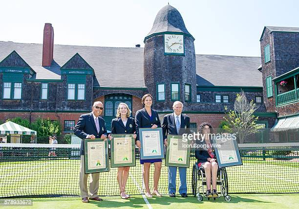 The 2014 induction class from left to righ Nick Bollettieri Jane Brown Grimes Lindsay Davenport John Barrett and Chantal Vandierendonck pose for a...