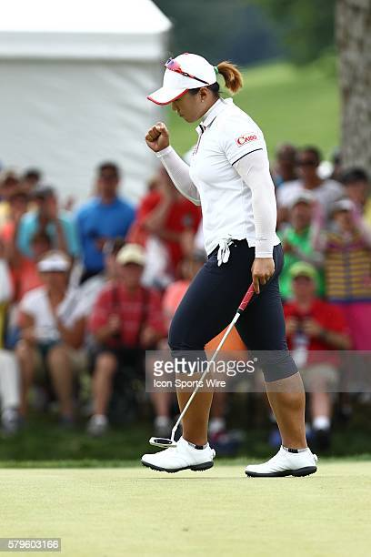 Amy Yang reacts after sinking a birdie putt on the 6th green during the final round of the 70th US Women's Open at Lancaster Country Club in...