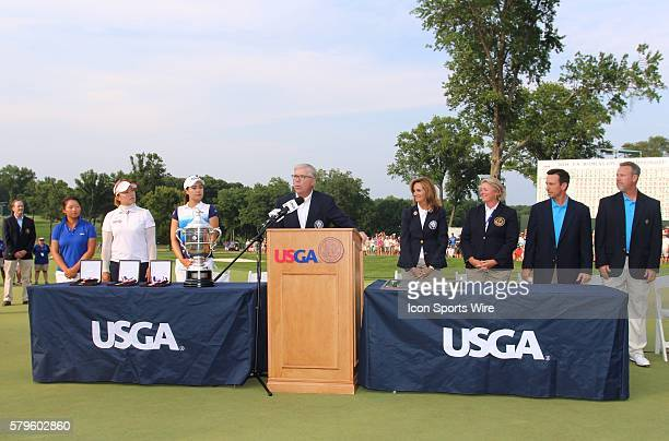 The top three finishers are introduced after the final round of the 70th US Women's Open which was won by In Gee Chun with a score of 8 at Lancaster...
